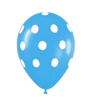 "Sempertex 12"" Fashion Solid L. Blue 039 - AO White Polka Dots"