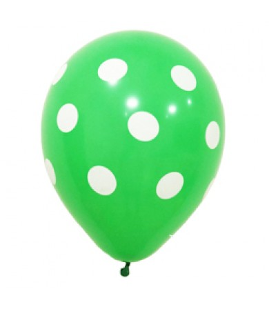"Sempertex 12"" Fashion Solid Green 030 - AO White Polka Dots"