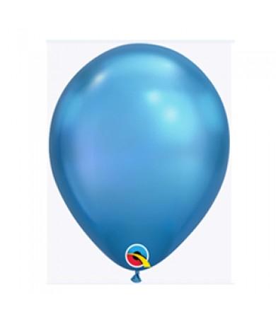 """Qualatex 11"""" Round Balloon Chrome Blue ( 100 )"""
