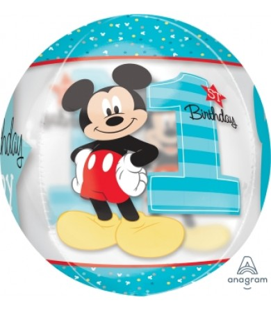 "34346 Mickey 1st Birthday Orbz™ (16"")"