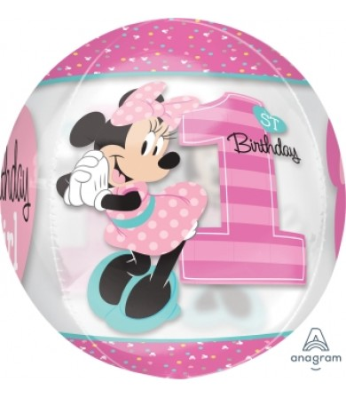 "34381 Minnie 1st Birthday Orbz™ (16"")"